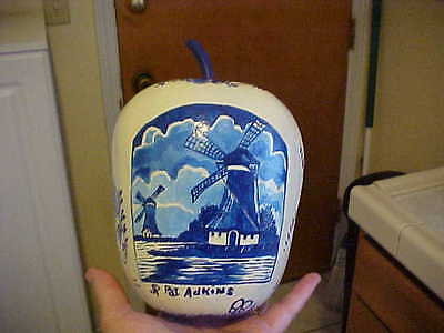 Hand Painted Original  Delft Ship Windmill & flowers on Gourd /Pat Adkins Artist