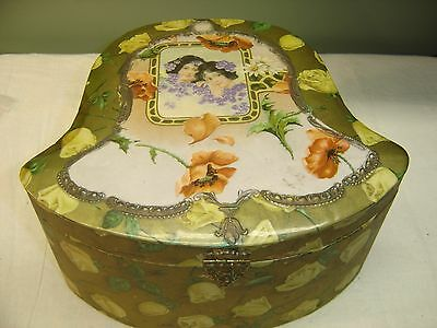 Antique Bell Shaped Celluloid Collar Box The cover is gold w/ yellow roses 7382