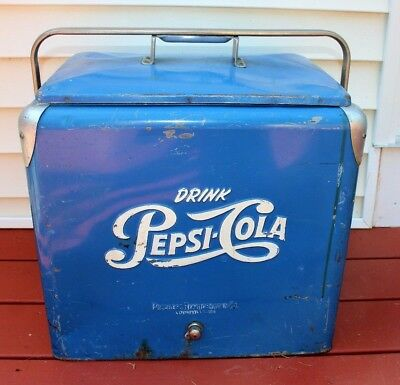 Vintage 1950s Pepsi-Cola Cooler  / Ice Chest & insert sandwich tray All Original