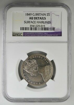 Victoria Regina Great Britain  2 Shillings 1849  NGC  AU DETAILS
