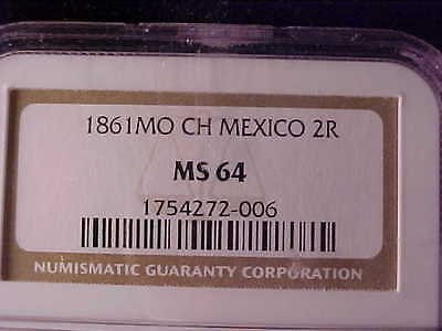 MEXICO 2 REALES 1861 Mo CH NGC MS 64