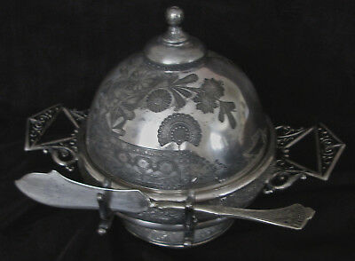 antique Rogers-Smith quad. plate Eastlake style domed butter/cheese dish w knife