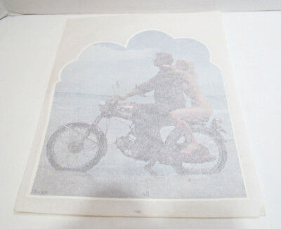 MOTORCYCLE BIKER RISQUE GIRL 1970's VINTAGE IRON ON T-SHIRT HEAT TRANSFER UNUSED