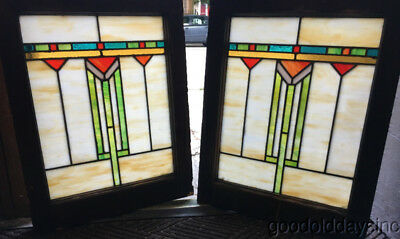 "Pair of Antique Arts & Crafts Stained Leaded Glass Windows 25"" by 20"" Circa 1920"