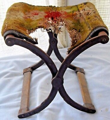 Antique Victorian Folding Seat Lawn Chair Wrought Iron & Wood Original Carpet