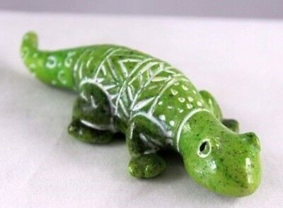 KRTRS Hand Made & Carved  Polystone Light Green Gecko by Ganz