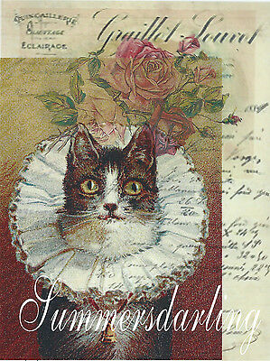 Cat*cats*kitten**quilt Art Fabric Block*collage Antique Roses French Paper*1-5X7