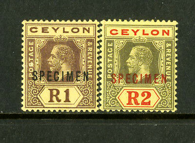 Ceylon Stamps # 2 specimens VR OG HINGED 2 Vf,Og,Hinged Specimen Ovpt