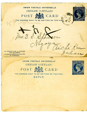 Ceylon Stamps 1899 Ceylon to Nagoya, Japan via Singapore Post Card