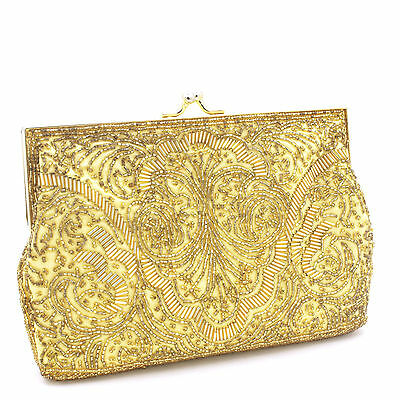 Vintage Andre Cellini gold beaded satin clutch purse metal cord strap
