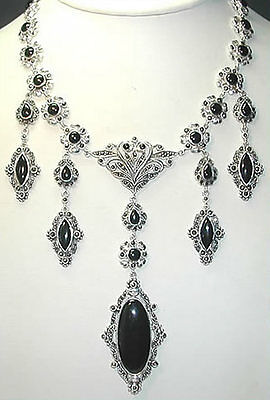 Statement Marcasite & Onyx Necklace Sterling Silver Elegant Jewelry