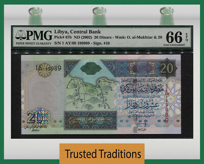 TT PK 67b 2002 LIBYA 20 DINARS PMG 66 EPQ GEM UNCIRCULATED POP TWO NONE FINER