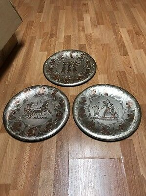 Lot Of 3 Vintage Etched Metal Egyptian Decorative Wall Hanging Plates 11.5""