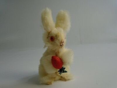 Vintage West Germany Rabbit Bunny Figure Toy Real Fur Red Eyes