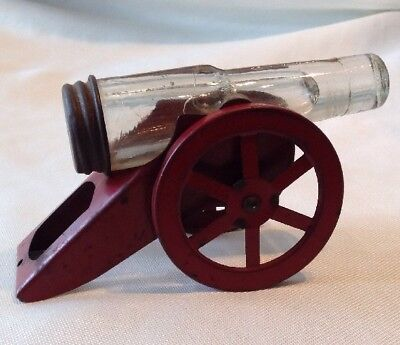Vintage Glass Cannon 2-Wheel Mount Candy Container