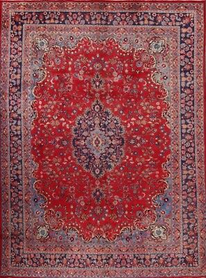 "Antique Traditional Floral 10x13 Mashad Persian Oriental Area Rug 12' 6"" x 9' 6"""