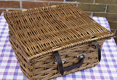 Vintage Brexton Wicker Picnic Basket Hamper With Contents, Flasks, Plates Etc