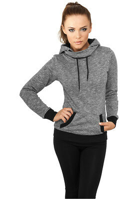 Ladies High Neck Hoody Urban Classics Streetwear Felpa Cappuccio Donna