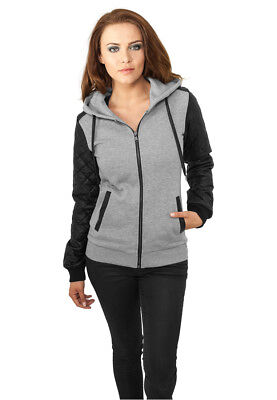 Ladies Diamond Leather Imitation Sleeve Zip Hoody Urban Classics Streetwear