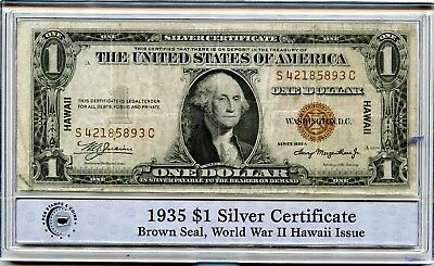1935-A PCGS $1 U.S. Silver Certificate Brown Seal WWII Hawaii Issue Note RR397