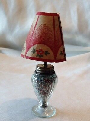 Vintage Glass Novelty Lamp Floral Paper Shade Candy Container