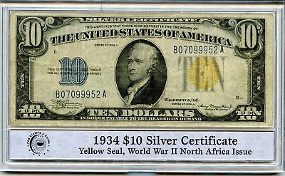 1934 PCGS $10 U.S. Silver Certificate Yellow Seal WWII North Africa Issue RR401