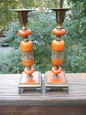Pair Vintage Butterscotch Bakelite And Metal Candleholders On Footed Bases