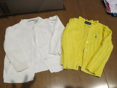 2 Cable Knit Sweaters Ralph Lauren 2T Cherokee 24M EUC