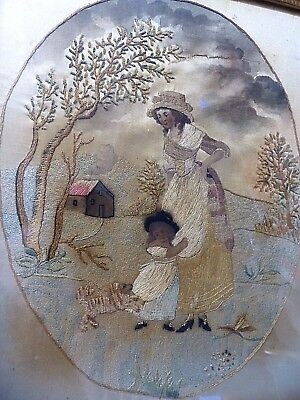 VERY BEAUTIFUL EARLY EMBROIDERY POSSIBLY 1700s - LADY WITH CHILD & SMALL DOG