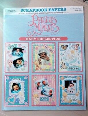 Vintage 1998*Precious Moments*BABY*Scrapbook Papers*Leisure Arts Book*16 Sheets*