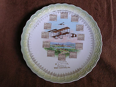 West Hanover PA/H A Boyer Furniture Co 1912 Calendar Plate/Wright Bros Biplane