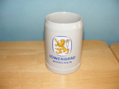 "Vintage LOWENBRAU MUNCHEN Ceramic Beer Mug .5l  5"" Tall"