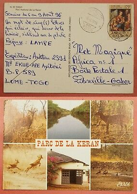 1996 Togo Keran National Park Postcard To Gabon