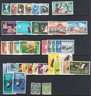 Uganda stamps - hinged sets (missing #105)+ couple early singles