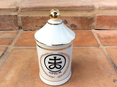 Antique OPIUM Porcelain French Apothecary Pharmacy JAR Bottle Hand Painted Japan