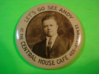 Celluloid Advertising Pocket Mirror The Central House Cafe Picture Of Andy