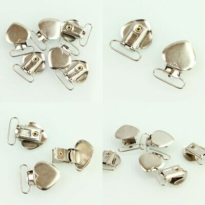 20 Pcs  Metal Heart Shape Pacifier Suspender Clips Holder Webbing Hook Craft DIY