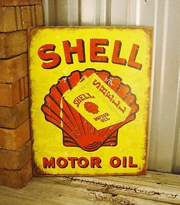 Shell Motor Oil Yellow Red Metal Tin Sign Wall Vintage Garage Decor Gas