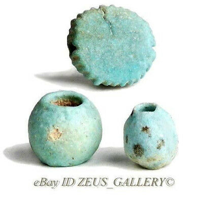 3 Ancient EGYPTIAN Green Glazed Faience Beads, painted Dots, Spherical, Disc