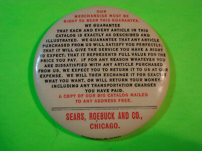 Celluloid Advertising Pocket Mirror Sears, Roebuck And Co. Chicago. Guarantee