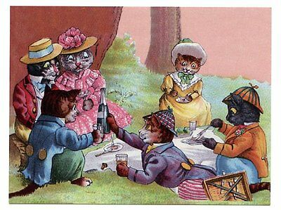 modern cat postcard Thompson dressed cats on picnic drink wine