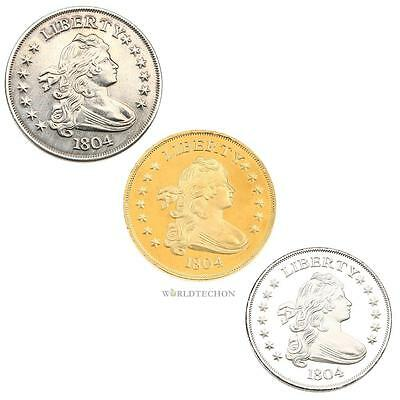 Metal Pirate Treasure Commemorative Coins - Gold and Silver Doubloon Replicas