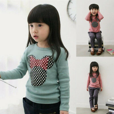 Kids Baby Girl Child Long Sleeve T-Shirt Cotton Round Neck Tee Shirt Tops 2-7Y