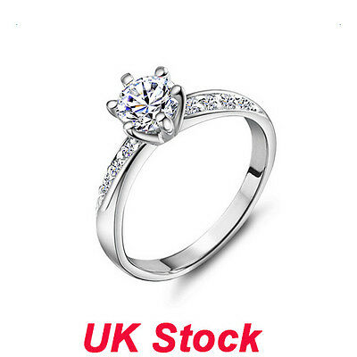 Womens Ladies 925 Silver Sterling White Sapphire Eternity Engagement Ring Gift