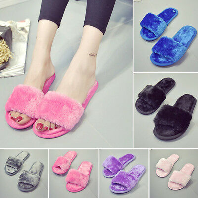 Womens Fur Fluffy Slippers Slides Mules Sandals Home Open Toe Sandals Flat Shoes