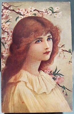Germany Munich 1920 Angelic Girl Colour Postcard Cover