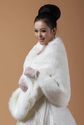 New White Ivory Faux Fur  Wrap Shrug Bolero Shawl Cape Bridal Wedding Jacket US