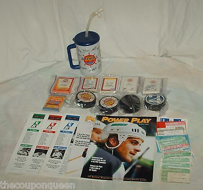 Lot Peoria Rivermen Hockey Items * Cards, Pucks,Magazines, Programs,Articles *