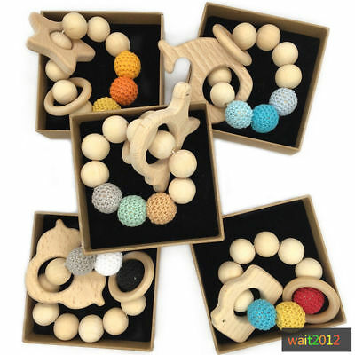Natural Organic Wooden Baby Teether Teething DIY Bracelet Ring Hand Chain Toys