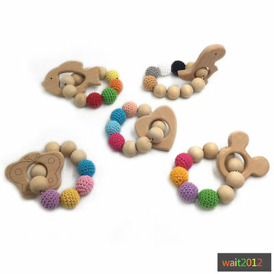 Natural Organic Wooden Baby Teether Teething Bracelet Ring Hand Chain DIY Toys